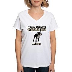 Boston Terrier Mom Women's V-Neck T-Shirt