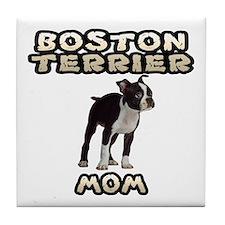 Boston Terrier Mom Tile Coaster