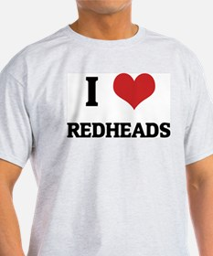 I Love Redheads Ash Grey T-Shirt