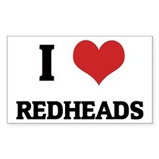 I Love Redheads Rectangle Decal