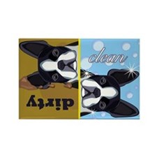 Dirty/Clean Boston Terrier Dog Rectangle Magnet