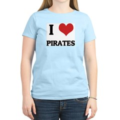 I Love Pirates Women's Pink T-Shirt