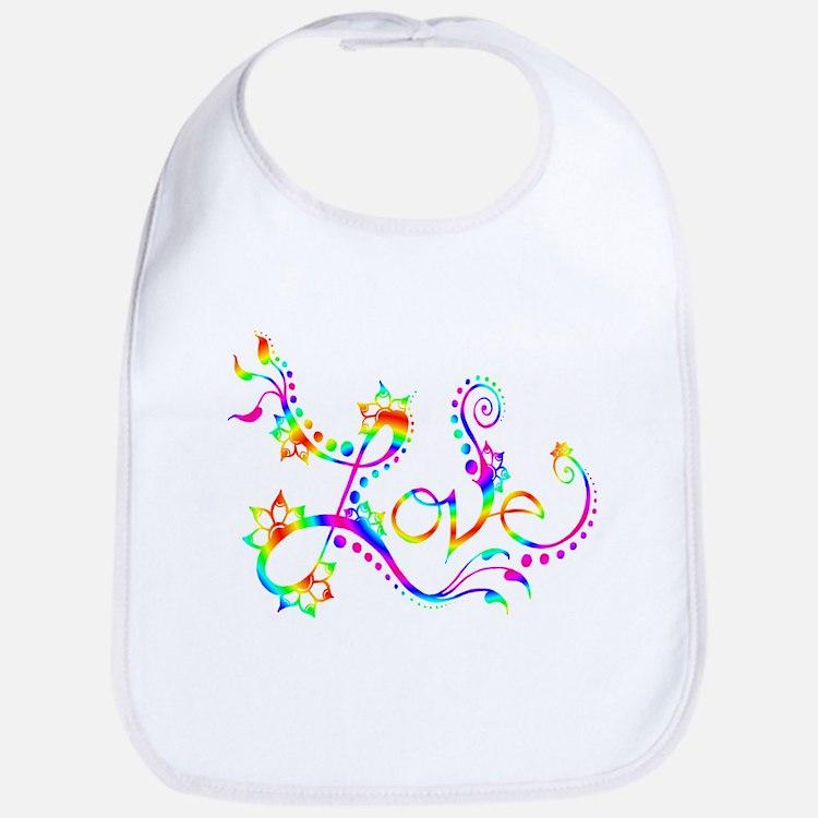 Love /rainbow swirl Bib