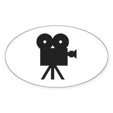 black cine camera hollywood Oval Decal