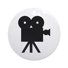 black cine camera hollywood Ornament (Round)