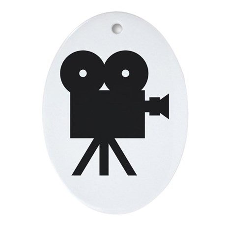 black cine camera hollywood Oval Ornament