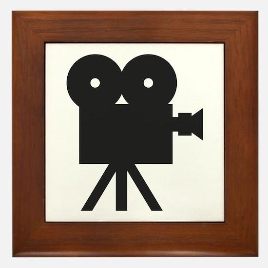 black cine camera hollywood Framed Tile