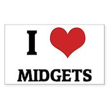 I Love Midgets Rectangle Decal