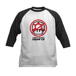 I Don't Wanna Grow Up Kids Baseball Jersey