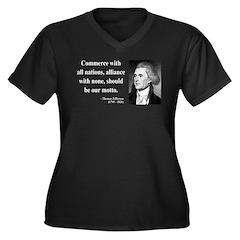 Thomas Jefferson 10 Women's Plus Size V-Neck Dark