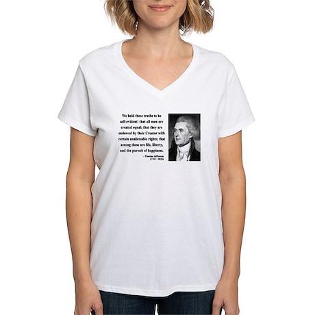 Thomas Jefferson 14 Women's V-Neck T-Shirt