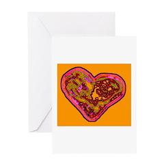 Heart Greeting Card (orange & pink)