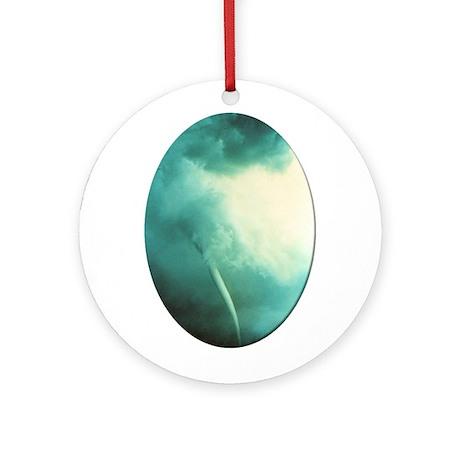 Green Tornado Ornament (Round)