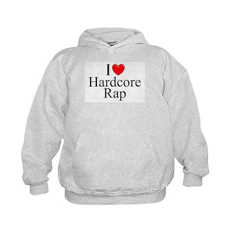 """I Love (Heart) Hardcore Rap"" Kids Hoodie"