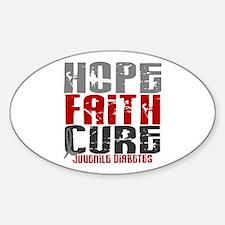 HOPE FAITH CURE Juvenile Diabetes Oval Decal
