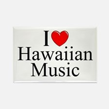 """I Love (Heart) Hawaiian Music"" Rectangle Magnet"
