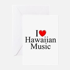 """I Love (Heart) Hawaiian Music"" Greeting Cards (Pk"