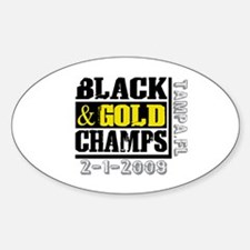 Black and Gold Champs Oval Decal