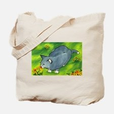 gray cat and flowers Tote Bag