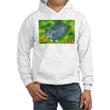 gray cat and flowers Hoodie