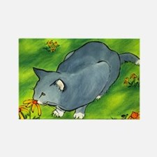 gray cat and flowers Rectangle Magnet