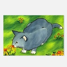 gray cat and flowers Postcards (Package of 8)