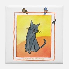 Cat-Delight in the Little Things Tile Coaster