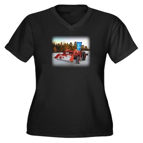 Tractor Sam Women's Plus Size V-Neck Dark T-Shirt