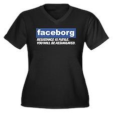 Faceborg Women's Plus Size V-Neck Dark T-Shirt