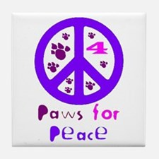 Paws for Peace Purple Tile Coaster