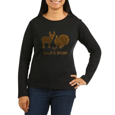 U.P. Bucks and Beards Women's Long Sleeve Dark T-S