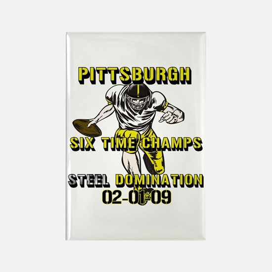 Pittsburgh Six Time Champs Rectangle Magnet