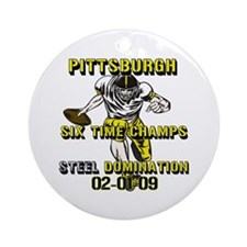 Pittsburgh Six Time Champs Ornament (Round)