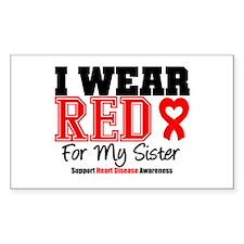 I Wear Red Sister Rectangle Sticker 50 pk)