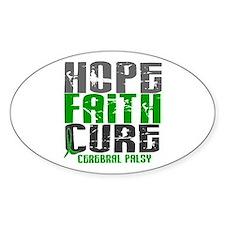 HOPE FAITH CURE Cerebral Palsy Oval Decal