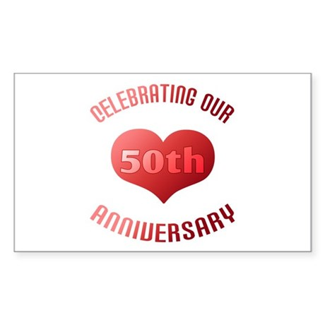 50th Anniversary Heart Gift Rectangle Sticker