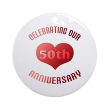 50th Anniversary Heart Gift Ornament (Round)