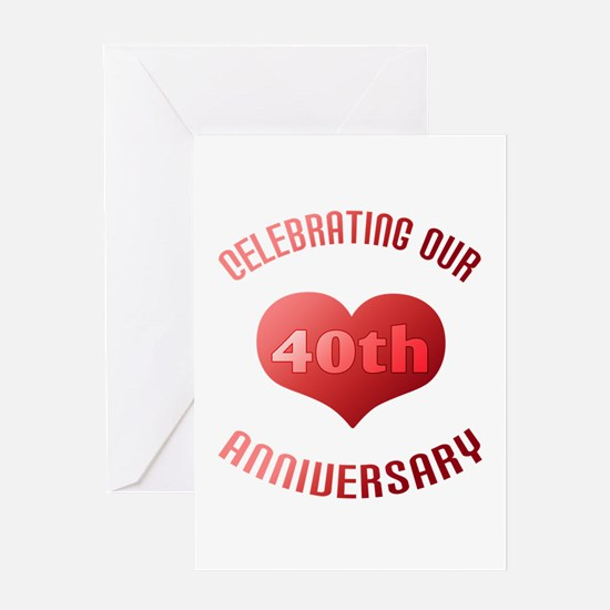 40th Anniversary Heart Gift Greeting Card