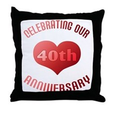 40th Anniversary Heart Gift Throw Pillow