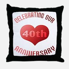 40th Anniversary Heart Gift Throw Pillow
