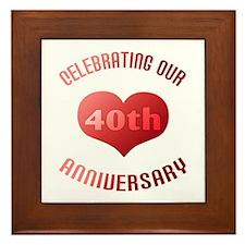 40th Anniversary Heart Gift Framed Tile