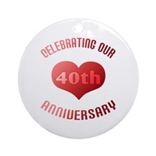 40th Anniversary Heart Gift Ornament (Round)
