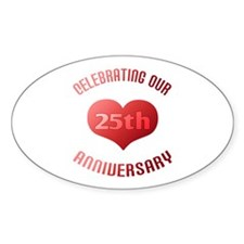 25th Anniversary Heart Gift Oval Decal