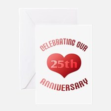25th Anniversary Heart Gift Greeting Card