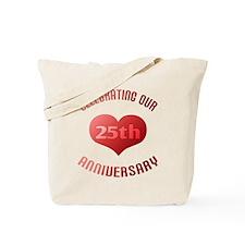 25th Anniversary Heart Gift Tote Bag