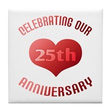 25th Anniversary Heart Gift Tile Coaster