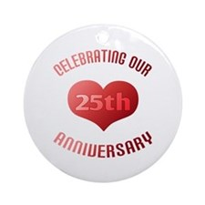 25th Anniversary Heart Gift Ornament (Round)