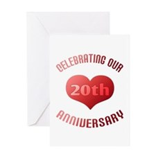 20th Anniversary Heart Gift Greeting Card