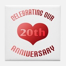 20th Anniversary Heart Gift Tile Coaster