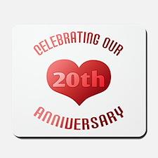20th Anniversary Heart Gift Mousepad